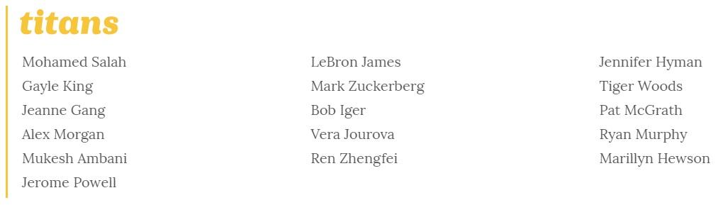 2019 Time 100 - Tanınmış Kişiler