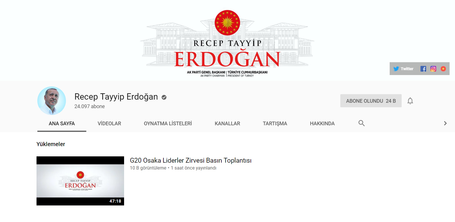 Erdoğan'ın Youtube Kanalı