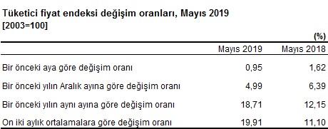 TÜFE Değişim Oranları Mayıs 2019