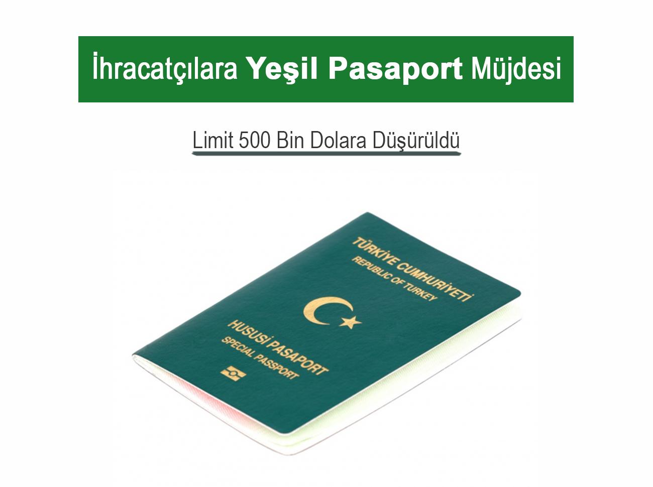 Yeşil Pasaport İçin İhracat Limiti 500 Bin Dolar Oldu