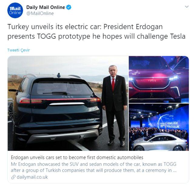 Türkiye'nin Otomobili Daily Mail Online