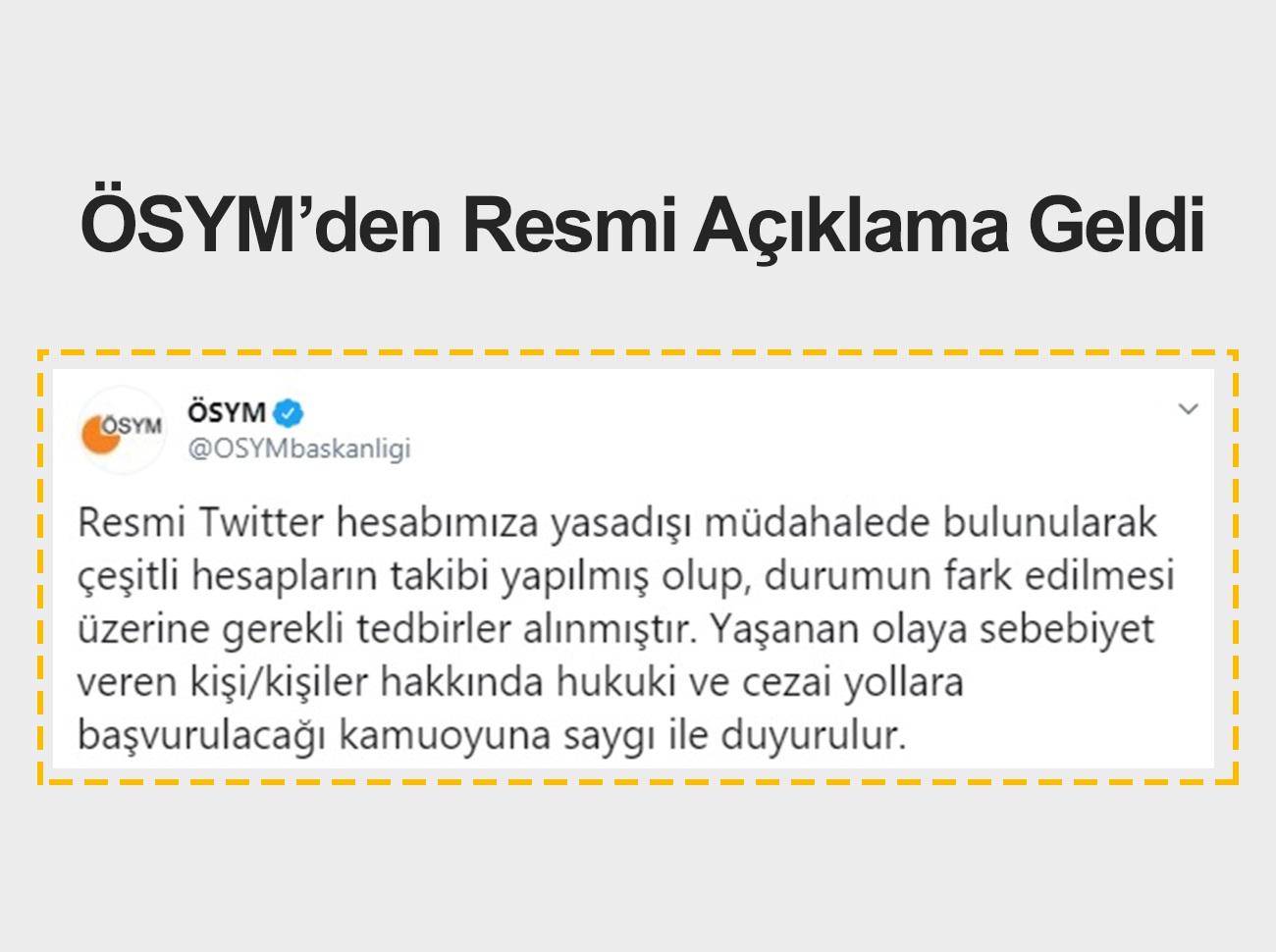 ÖSYM Twitter'da Takip Ettiği +18 Hesap Hakkında Açıklama Yaptı