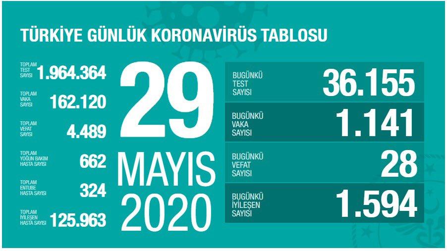 Korona Virüs Günlük Tablo 29 Mayıs 2020