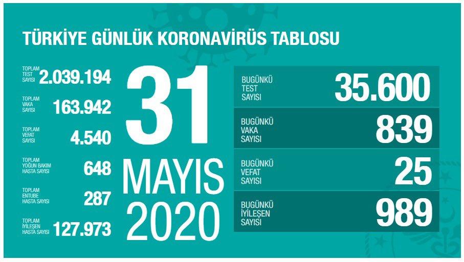 Korona Virüs Günlük Tablo 31 Mayıs 2020
