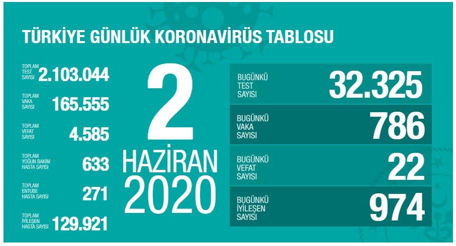 Korona Virüs Günlük Tablo 2 Haziran 2020